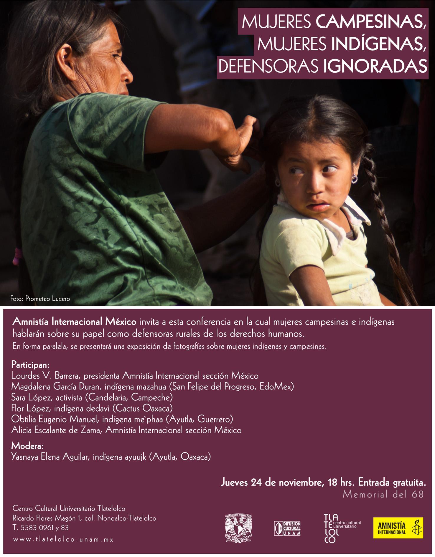 Mujeres campesinas, mujeres indígenas, defensoras ignoradas